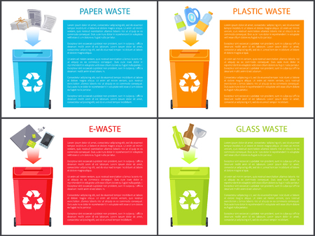Paper Plastic and Glass Waste Vector Illustration