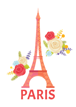 Paris Poster with Blooming Flower and Eiffel Tower Banque d'images - 109272218