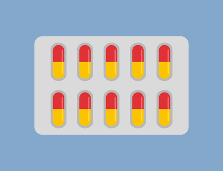 Blister with Yellow and Red Capsules Isolated Icon Stok Fotoğraf