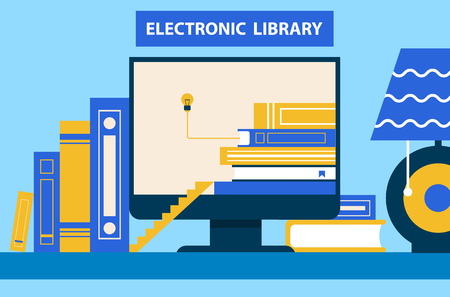 Electronic Library Computer Vector Illustration