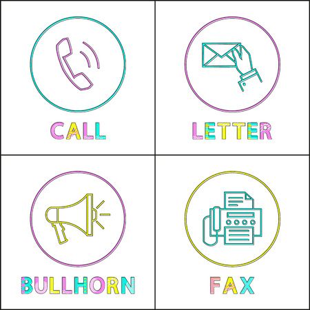 Digital application linear icons with symbols. Receiver on call button, letter exchange, bullhorn emblem and fax isolated flat vector illustrations.