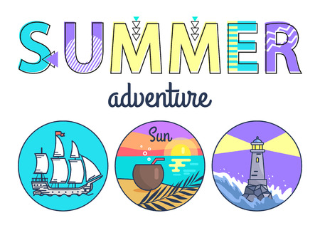Summer Adventure Promo Banner with Round Seascapes Illustration