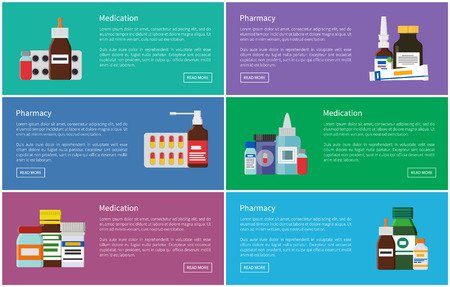 Medication Pharmacology Set Vector Illustration Ilustrace