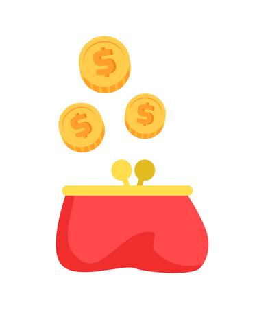 Rote Brieftasche und Geld-Nahaufnahme-Vektor-Illustration Vektorgrafik