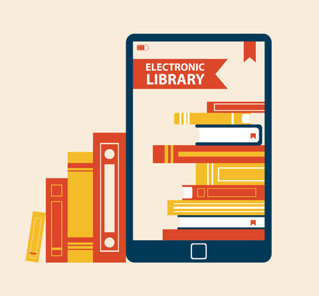 Electronic Library Poster Vector Illustration 일러스트
