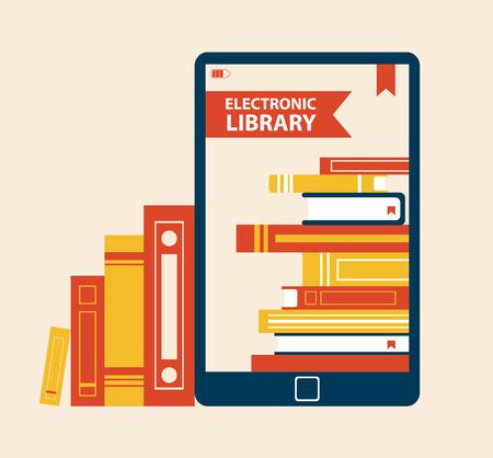Illustration vectorielle d'affiche de bibliothèque électronique