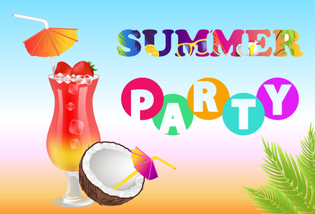 Summer party poster and headline, tropic cocktail decorated with umbrella made of strawberry fruits, cold ice cubes, colorful banner vector illustration