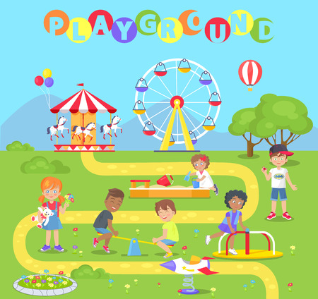 Playground with attractions full of little kids. Neat lawn, classic carousel, big ferris wheel and small swings cartoon flat vector illustration.