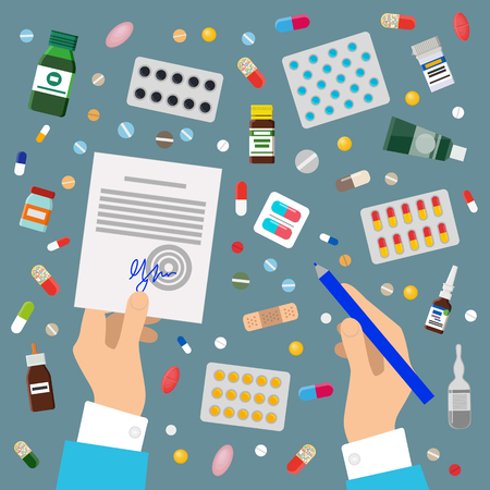 Doctors Hands Sign Prescription and Medicaments Ilustração