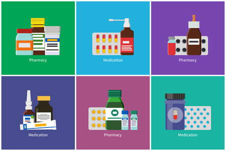 Pharmacy Medication Posters Vector Illustration