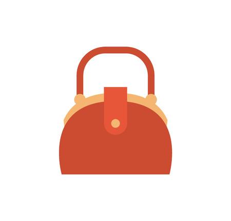 Niedliche Eitelkeitsbox, gebogener Formgriff, rote Lederhandtasche, weibliche Tasche mit Karikaturvektorillustration der Metallelemente lokalisiert auf weißem Hintergrund.