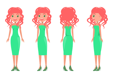 Women in green dresses summer animated mode. Redhead pretty girl wears stylish outfits from all sides. Girls with elegant clothes vector illustration. Illustration