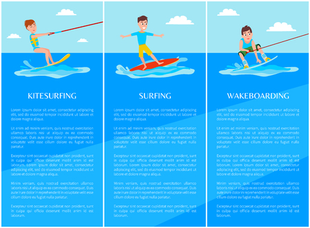Wakeboarding and kitesurfing, surfing sport banner, vector illustrations set, cheerful sportsmans, bright sky, sunny day, text sample, marine waves.