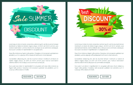 Summer big sale discount 30 off, web posters, stickers and gentle flowers, promo emblem design, tag logotype on banners vector illustrations set.