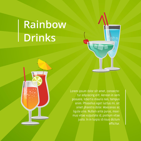 Rainbow drinks summer cocktails poster refreshing summertime juices, advertisement leaflet tropical alcohol beverage decorated by fruits vector banner
