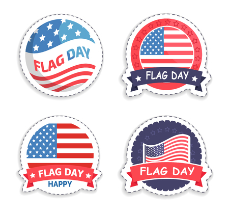 American Flag Day Promotional Round Stickers Set 向量圖像