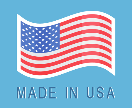 Made in USA Sticker with American Waving Flag Icon