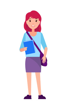Freshman first year student girl in purple skirt and blue blouse, handbag over shoulder and textbook in hands, vector female college graduate isolated 向量圖像
