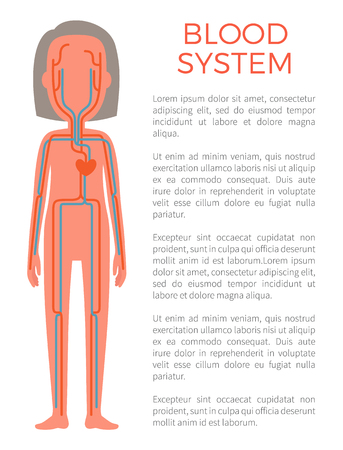 Blood System Poster and Text Vector Illustration