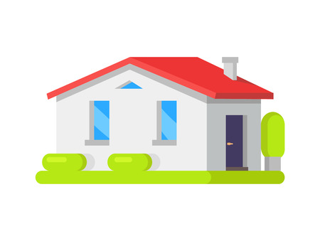 House Surrounded by Bushes Vector Illustration