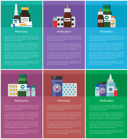 Medication Pharmacy Elements Vector Illustration