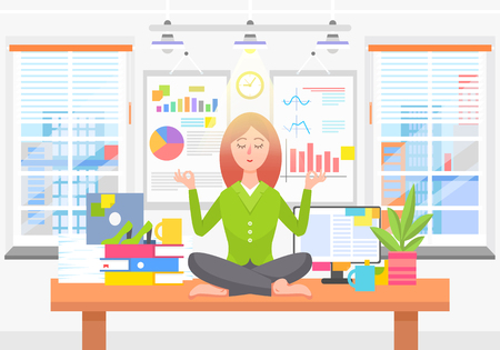 Woman Meditates on Work Place in Business Office