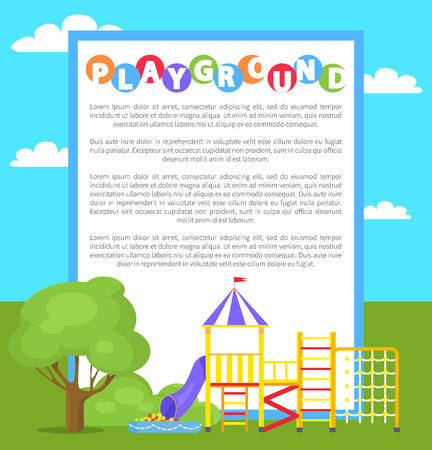 Playground in Park Poster Vector Illustration