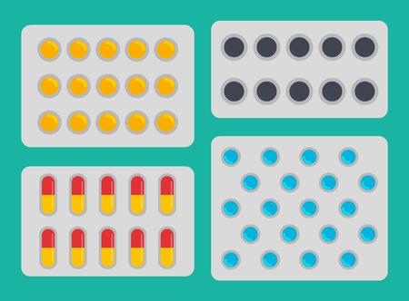 Medication Blisters Pills Set Vector Illustration Stok Fotoğraf