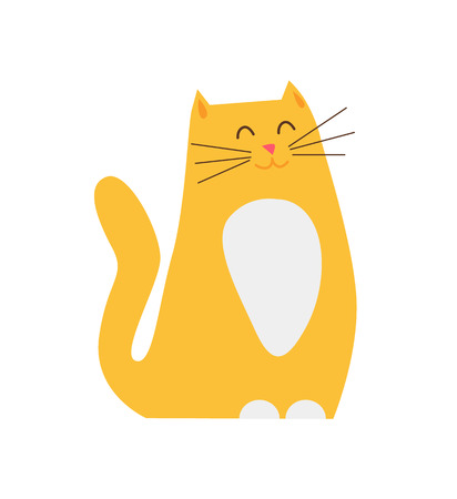 Smiling Ginger Cat Pet Closeup Vector Illustration
