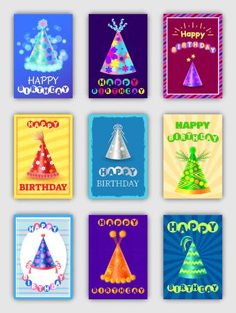 Happy Birthday Postcards Set Vector Illustration