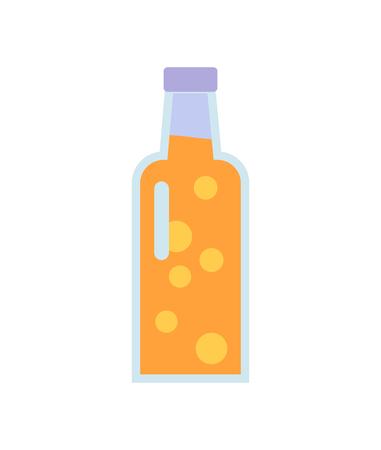 Glass Bottle with Beverage Vector Illustration