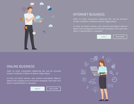 Internet Online Business Set Vector Illustration