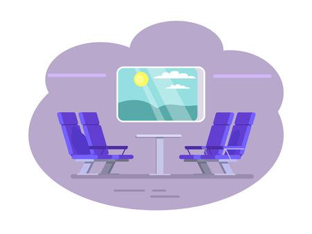 Train Wagon Interior and View Vector Illustration