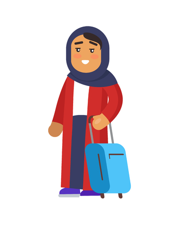 Muslim woman holding luggage and having calm smiling expression on face, lady wearing long clothes exited to travel, isolated on vector illustration