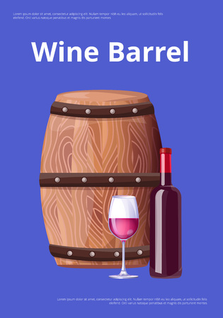 Wine Barrel Poster Bottle Burgundy Wine and Glass Illustration