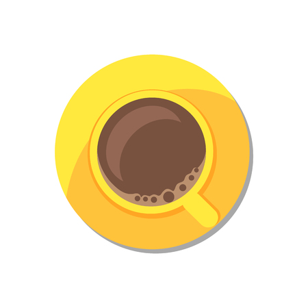 Coffee in golden tableware vector illustration isolated on white background, hot beverage in round cup, bright kitchen utensil energy drink poster