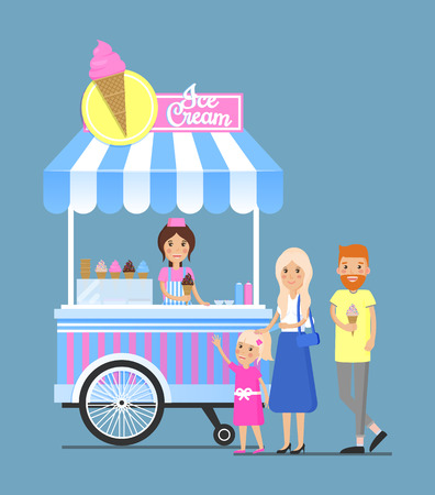 Street ice cream cart with vendor and customers. Cold summer dessert from mobile shop right outdoors. Family buys frozen food vector illustration. Vettoriali
