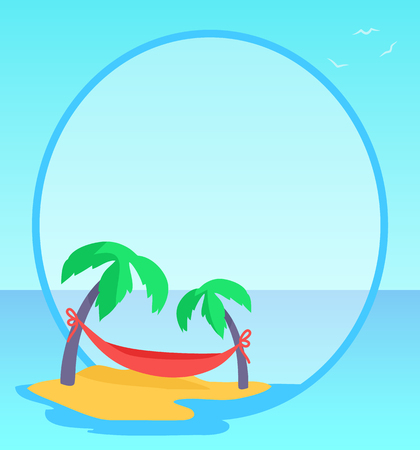 Tropical exotic seaside blue banner. High coconut palms branches with red hammock between trees. Circled space for text placement vector illustration