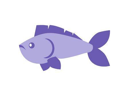 Animal vertébré à sang froid poisson bleu avec nageoires caudale et dorsale, narines soft ray, organisme frais non cuit isolé sur illustration vectorielle