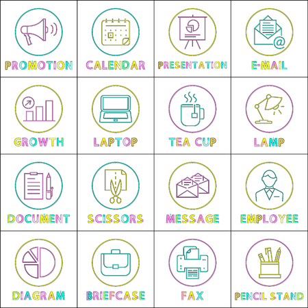 Work and Business Round Linear Icons Templates