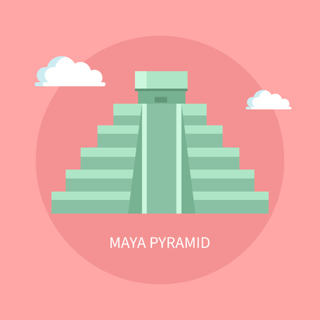 Ancient Maya Pyramid with Small Temple on Top