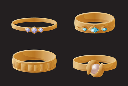 Collection of Golden Engagement Rings with Pearls Stock fotó - 109513049