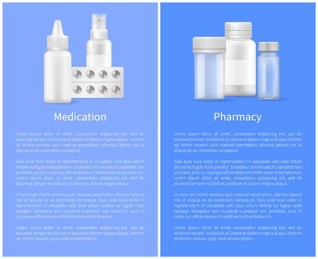 Medication and Pharmacy Poster Medical Bottles Set
