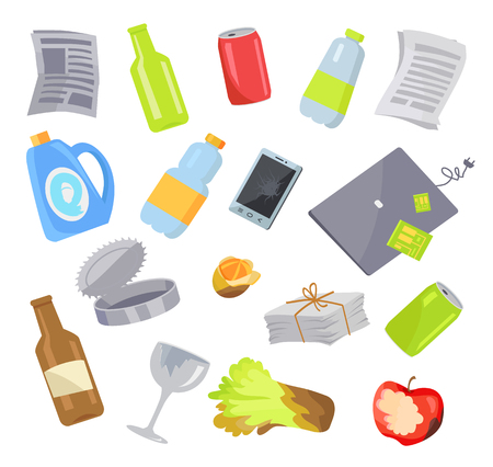 Garbage Waste Items Collection Vector Illustration