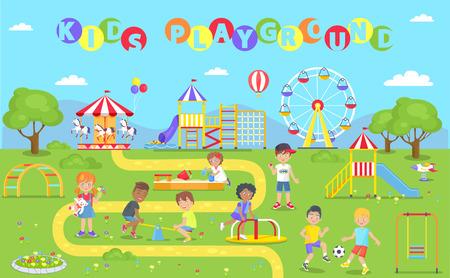 Kids Playground Park Poster Vector Illustration