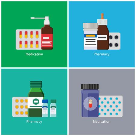 Medication Pharmacy Poster Set Vector Illustration