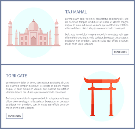 Taj Mahal and Torii Gate, Vector Illustration