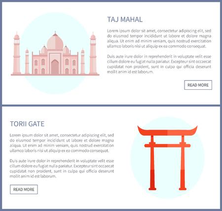 Taj Mahal and Torii Gate, Vector Illustration Stock Illustration - 109513073