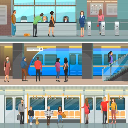 Vagone della metropolitana, stazione moderna e set di ingresso Archivio Fotografico