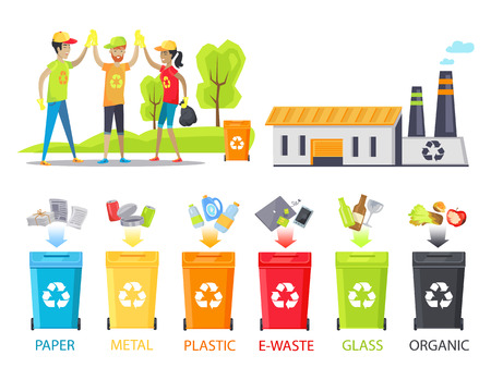 Recycling Plant and Happy Workers Colorful Poster Stock Photo